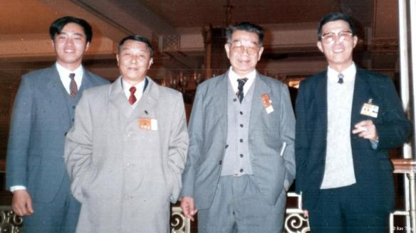 八十年代,照片从左至右:吴伟、朱厚泽、于光远、陈一谘
